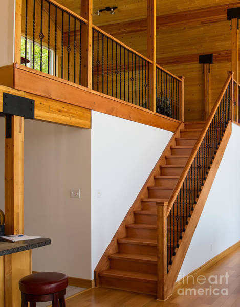 Photograph - Cottage Interior With Wooden Staircase Leading To The Loft by Les Palenik