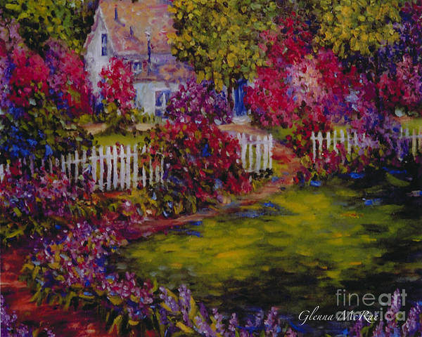 White Picket Fence Painting - Cottage Of My Heart's Delight by Glenna McRae