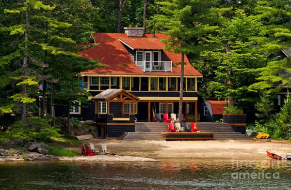 Photograph - Cottage On A Lake by Les Palenik