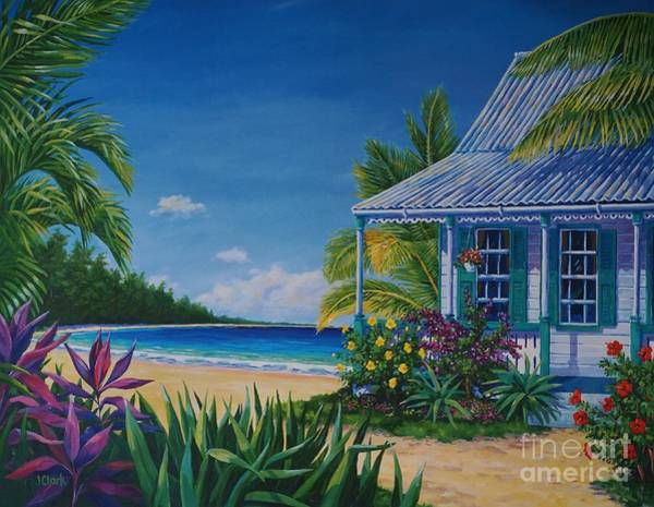 Hibiscus Flower Painting - Cottage On The Beach  17x23 by John Clark