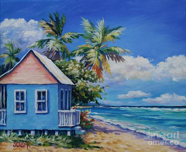 Trinidad Wall Art - Painting - Cottage On The Beach by John Clark