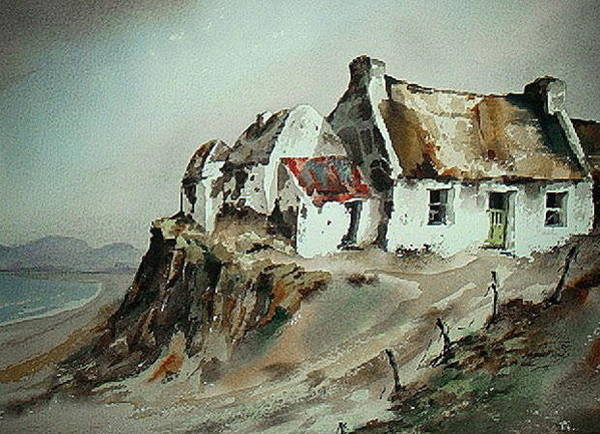 Galway Painting - Cottages Near Omey  Galway by Val Byrne
