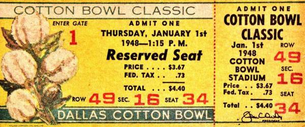 Penn Photograph - Cotton Bowl 1948 by Benjamin Yeager
