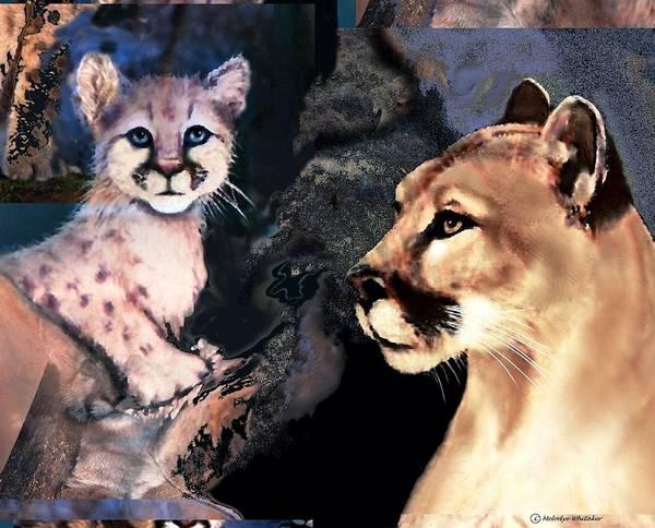 Puma Digital Art - Cougar And Babe by Melodye Whitaker