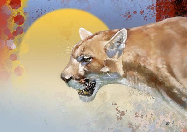 Mountain Lion Digital Art - Cougar by Arie Van der Wijst