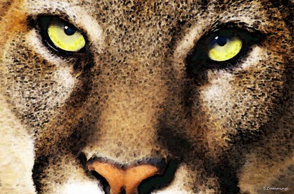 Wall Art - Painting - Cougar Eyes by Sharon Cummings