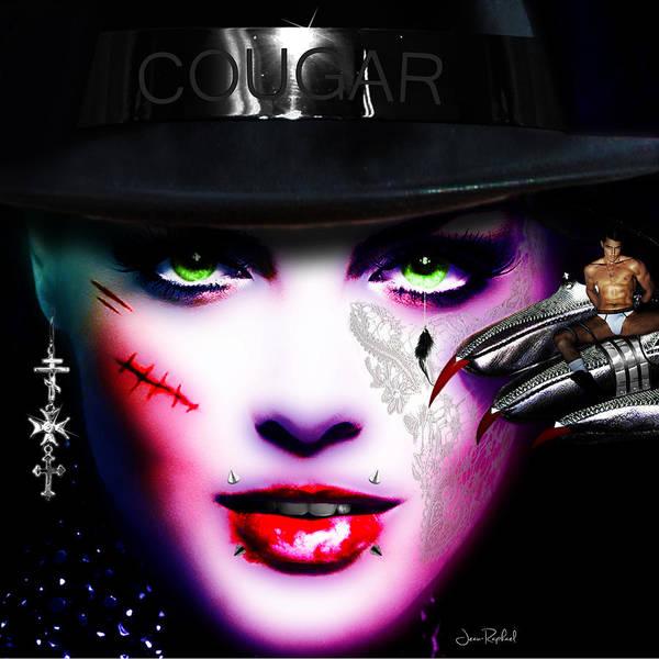 Lip Piercing Wall Art - Digital Art - Cougar Rainbow by Jan Raphael
