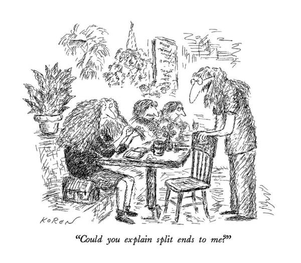 August 5th Drawing - Could You Explain Split Ends To Me? by Edward Koren