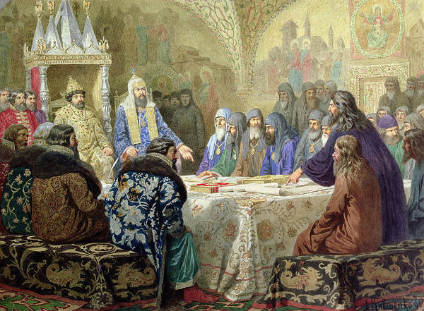 Orthodox Photograph - Council In 1634 The Beginning Of Church Dissidence In Russia, 1880 Wc On Paper by Aleksei Danilovich Kivshenko