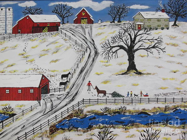 Wall Art - Painting - Country Christmas Tree by Jeffrey Koss