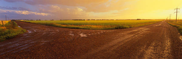 Crossroads Photograph - Country Crossroads Passing by Panoramic Images