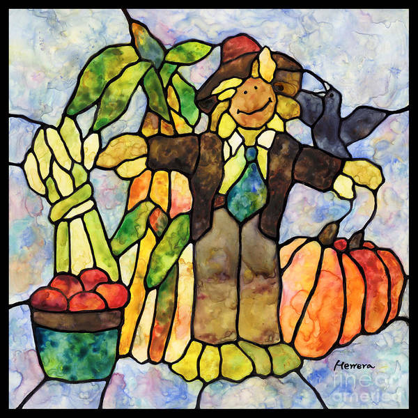Stained Glass Wall Art - Painting - Country Fall by Hailey E Herrera