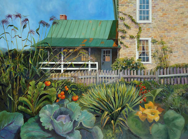 Porch Painting - Country Garden by Diane Hutchinson