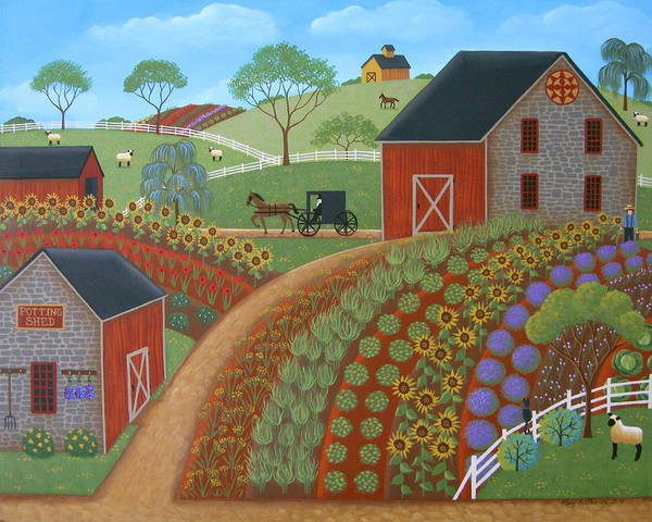 Crop Painting - Country Garden by Mary Charles