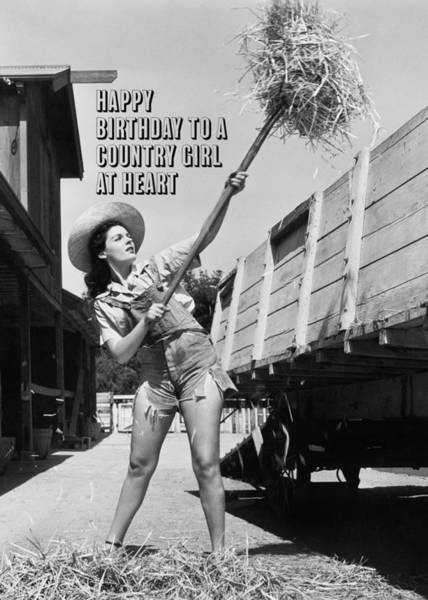 Wall Art - Photograph - Country Girl Birthday Greeting Card by Everett