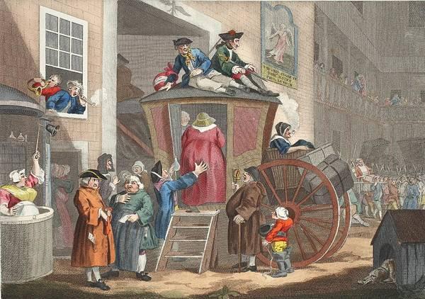 Balcony Drawing - Country Inn Yard, Illustration by William Hogarth