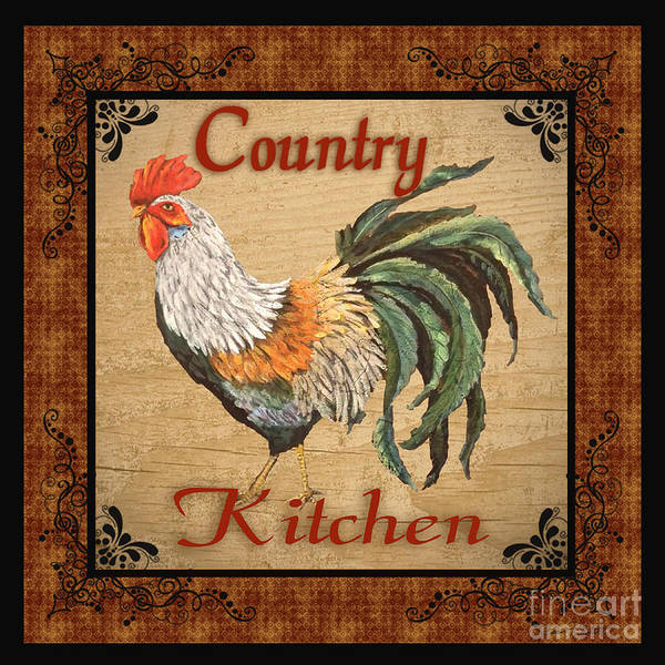 Jeans Mixed Media - Country Kitchen Rooster by Jean Plout