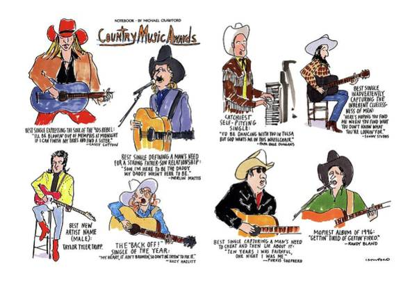 Country Music Drawing - Country Music Awards by Michael Crawford