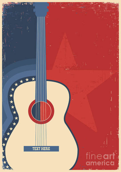 Wall Art - Digital Art - Country Music Poster With Guitar On Old by Tancha