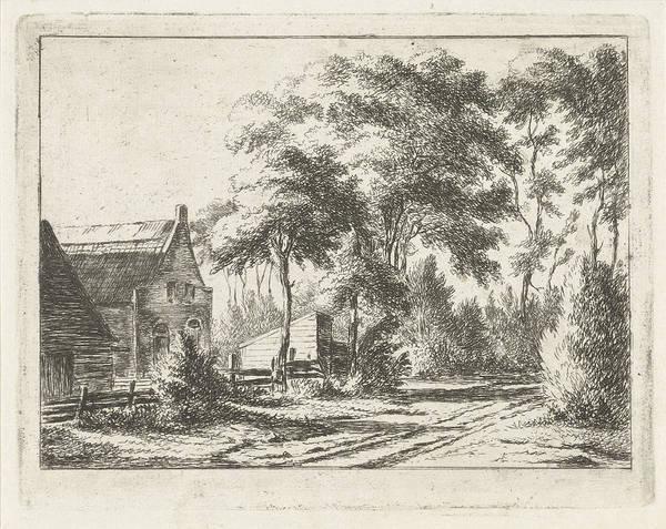 1854 Drawing - Country Road At A Farm, Print Maker Jacobus Cornelis Gaal by Artokoloro