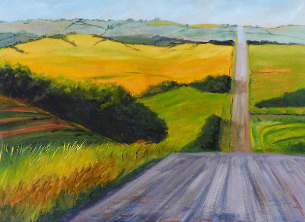 Western Decor Painting - Country Road by Nancy Merkle