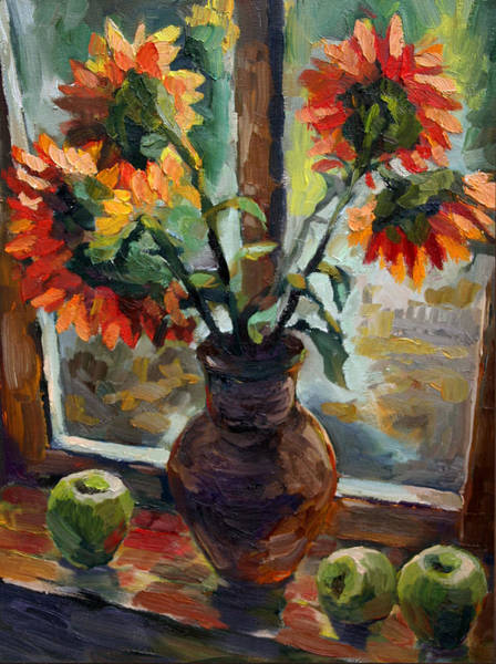 Russian Impressionism Wall Art - Painting - Country Still Life. Sunflowers by Olusha Permiakoff