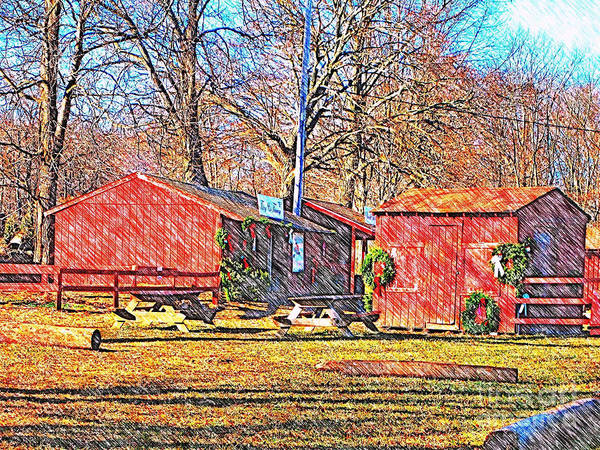 Sketch Holiday Photograph - Country Stores by Judy Palkimas