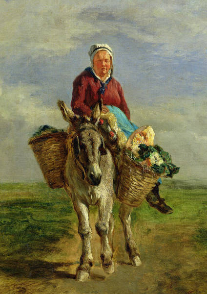 Burden Wall Art - Painting - Country Woman Riding A Donkey by Constant-Emile Troyon