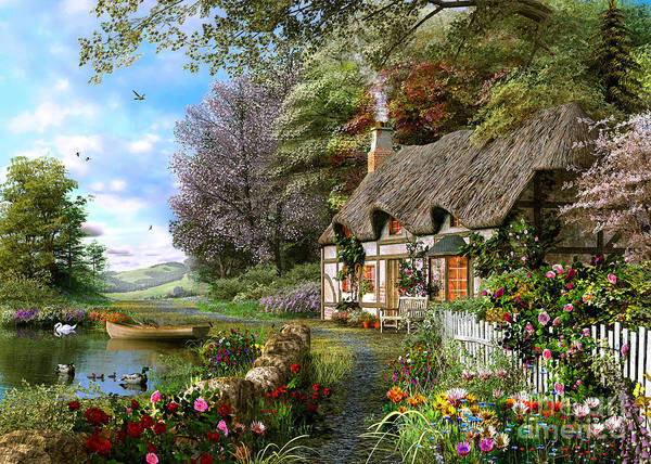 Swan Boats Digital Art - Countryside Cottage by MGL Meiklejohn Graphics Licensing