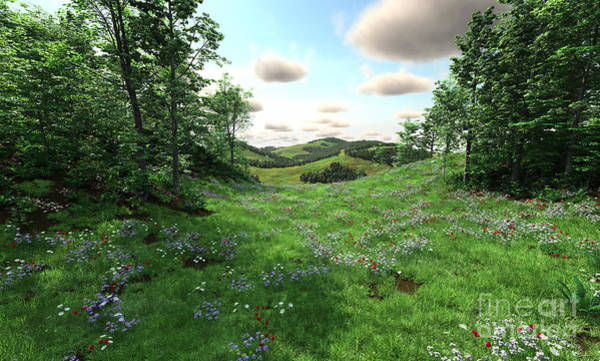 Wild Poppies Digital Art - Countryside With Meadows And Hills by Fairy Fantasies
