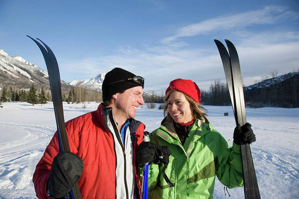 All Together Photograph - Couple At Trailhead Of Xc Ski Trails by Henry Georgi