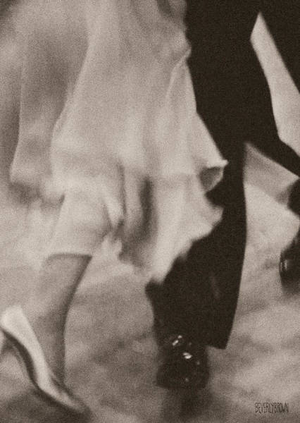 Monochrome Photograph - Couple Ballroom Dancing Legs by Beverly Brown