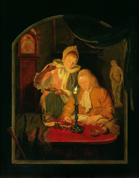 Wall Art - Photograph - Couple Counting Money By Candlelight, 1779 Panel by Michiel Versteegh