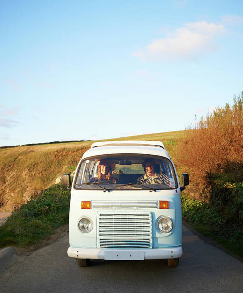 Laughing Photograph - Couple Driving Camper Van Along Coastal by Dougal Waters