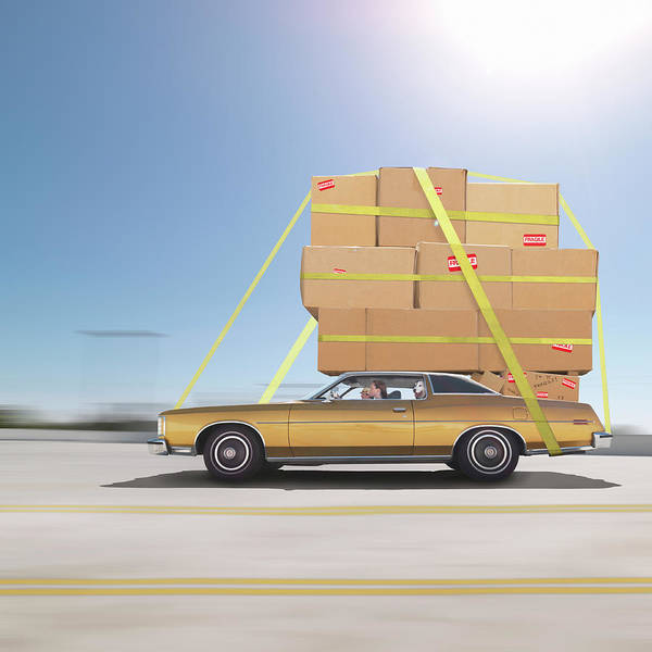 Driving Photograph - Couple Driving On Freeway, Moving Boxes by Mecky
