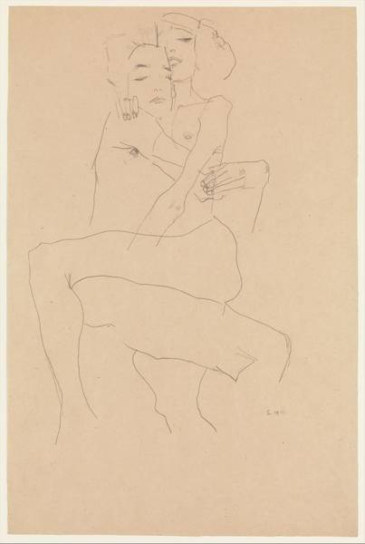Schiele Drawing - Couple Embracing by Egon Schiele
