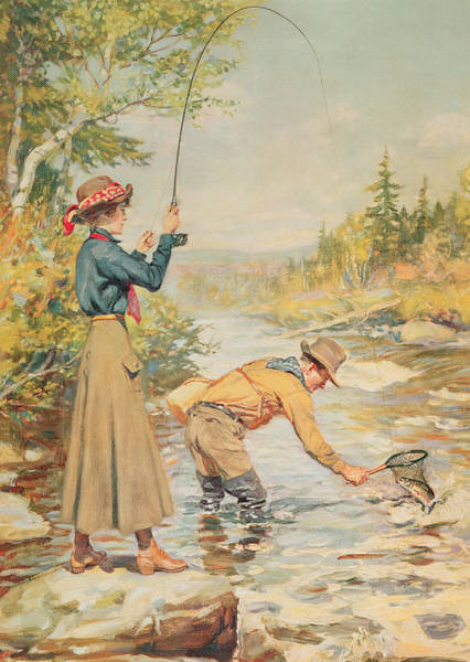 Angling Art Wall Art - Painting - Couple Fishing On A River by Anonymous