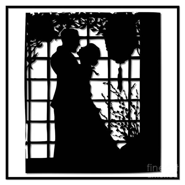 Couple In Love Silhouette Art Print