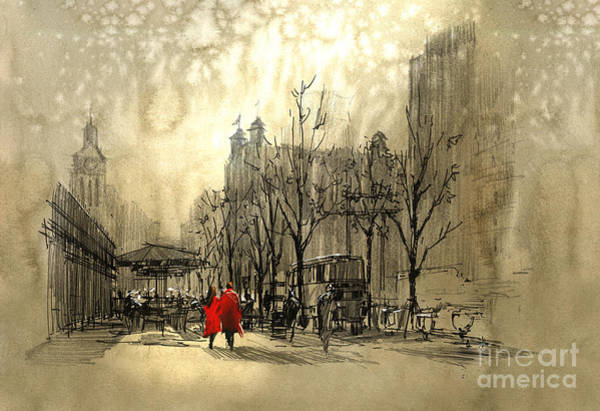 Urban Drawing - Couple In Red Walking On Street Of by Tithi Luadthong