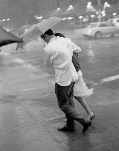 Couple In The Rain Art Print