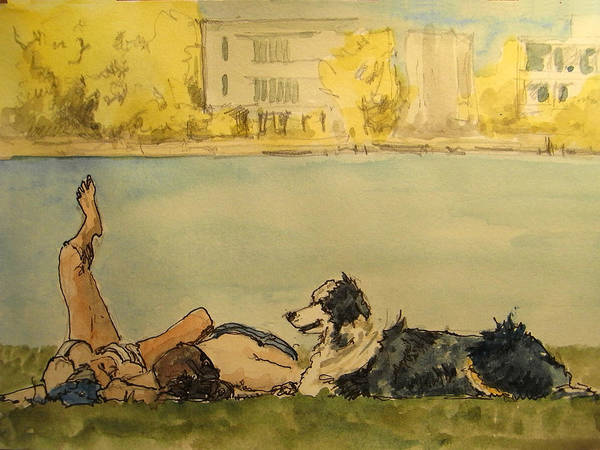Drinking Painting - Couple In The Spree by Juan  Bosco
