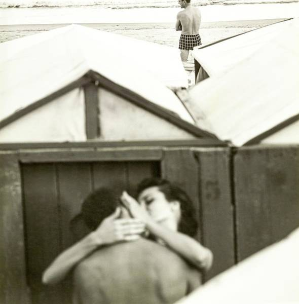 Couple Kissing By A Model Wearing Westwood Trunks Art Print