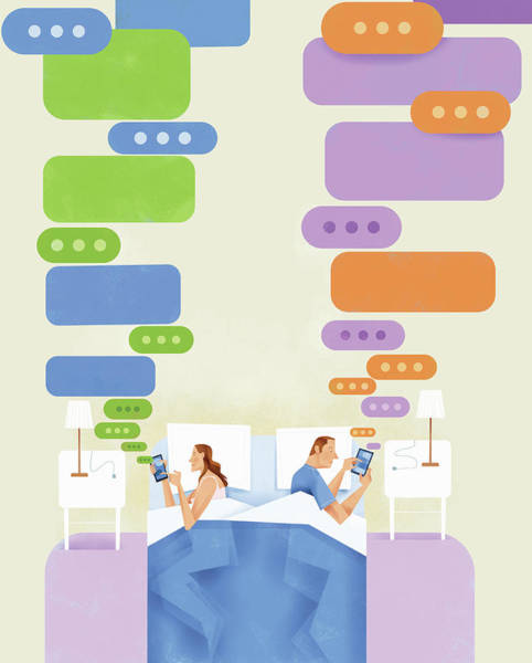 Text Bubble Photograph - Couple Lying In Bed Texting On Smart by Ikon Ikon Images