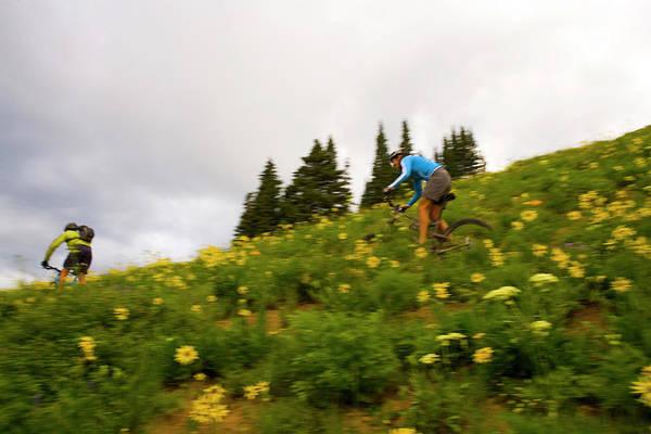 Flowers Bike Wall Art - Photograph - Couple Mountain Biking, Colorado by J.C. Leacock