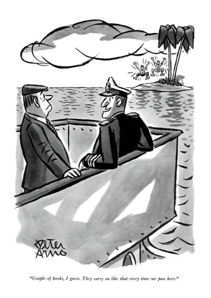 Shipwreck Drawing - Couple Of Kooks by Peter Arno