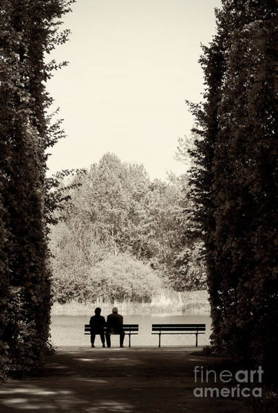 Straight Ahead Wall Art - Photograph - Couple Sitting On Bench by Arletta Cwalina