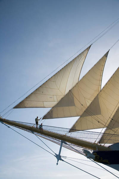 Couple On Bowsprit Of Royal Clipper Art Print