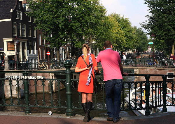 Photograph - Couple On A Bridge, Amsterdam by Aidan Moran