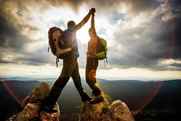 Climbing Photograph - Couple On Top Of A Mountain Shaking by Vm