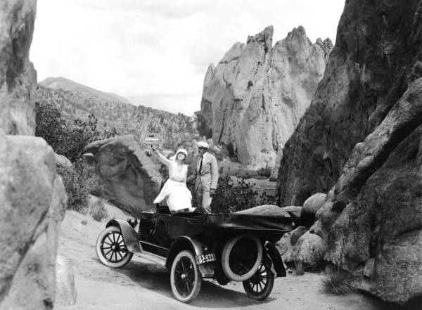 Photograph - Couple Out For A Ride by Underwood Archives